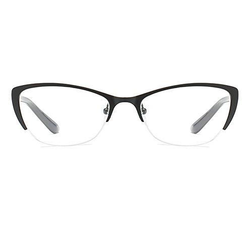 Inlefen Katzenauge Lesebrille Metall Halbrahmen Klare Linse Brillen Brillen Stärke +1.0 bis +4.0