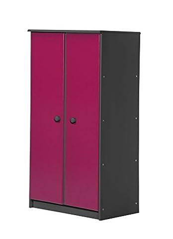 Design Vicenza Avola Zwei Türen Schrank mit Schiene graphit mit Fuchsia Details