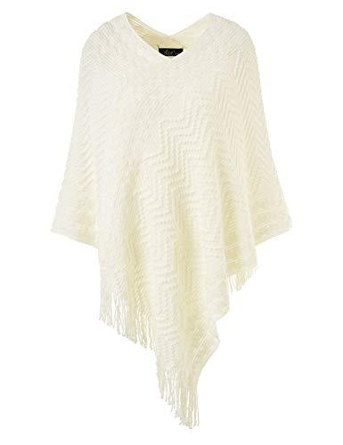 Ferand elegante maglione poncho donna mantella scialle uncinetto con strisce di chevron e franges - taglia unica - bianco