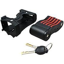 Faltschloss mit Schlüssel | Fahrrad-Schloss mit Halterung und zwei Schlüsseln | Incl. Halter | Lock Schwarz & Rot