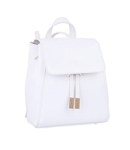 TOSH Tasche - Damen Rucksack, City Backpack, klein, Magnetverschluss, Reißverschluss, Verstellbare Schulterriemen, Gold, weiß (734-106)