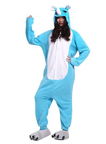 Rhino Kostüm - Unisex Pyjama/Schlafanzug/Einteiler, Tiermotiv, für Halloween, Cosplay-Kostüm Gr. Medium, Blue Rhino