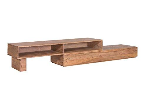 Woodkings® TV Bank Auckland variabel, Lowboard aus Akazien Holz Natur Rustic,TV Regal Möbel aus Massivholz und flexibel stellbar, Wohnwand variabel stellbar modern (Holz, 2 Fächer)