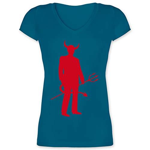 Halloween - Teufel - 3XL - Türkis - XO1525 - Damen T-Shirt mit ()