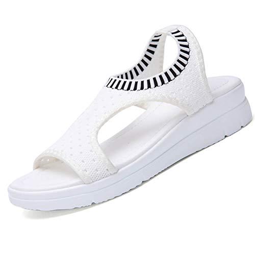 LINGTEU Sandalen Damen Sommer Keilabsatz Plateau Offener Zeh Espadrilles Frauen Sandaletten Flache Keilsandalen Peeptoe Fesselriemen Schuhe, Weiß