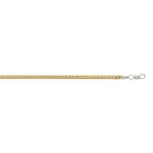 Silber 25,4cm gelb + Rhodium Finish 4.0mm Diamantschliff 2Tone Herringbone Kette + Reve rsible Wear Fußkettchen - Reve Finish