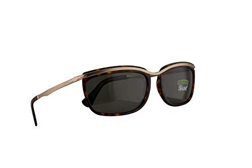 Persol 3229-S Key West II Sonnenbrille Havana Braun Mit Polarisierten Grünen Gläsern 60mm 2458 PO 3229S PO3229S PO3229-S
