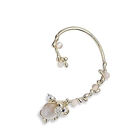 OKAJEWELRY Cat Eye Stone Elephant Ear Cuff Over Left Ear Wrap Earrings (White)