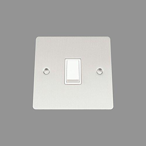 AET FSC1GSWIWH 10 A, 2 Vie, 1 banda, in cromo satinato, con interruttore singolo, interruttore con inserto in plastica, colore: bianco