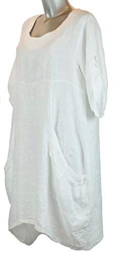 Bild von BZNA Leinen Tunika Kleid Weiß Bluse Leinentunika Shirt 36 38 40 42 44 one size Damen Dress Oberteil elegant