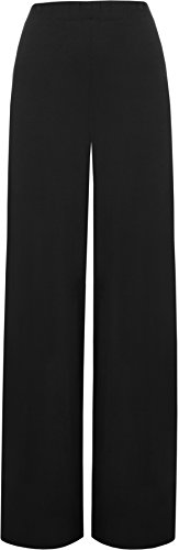 Ladies Palazzo Wide Leg Flared Elasticated Stretch Plus Size Plain Trousers Sizes 16 - 26