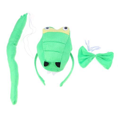 Dinosaurier Grüne Kostüm - NUOBESTY Dinosaurier kostüm Set Tuch grün Premium Haarschmuck künstliche Schwanz für Prom Leistung Cosplay 1 Satz