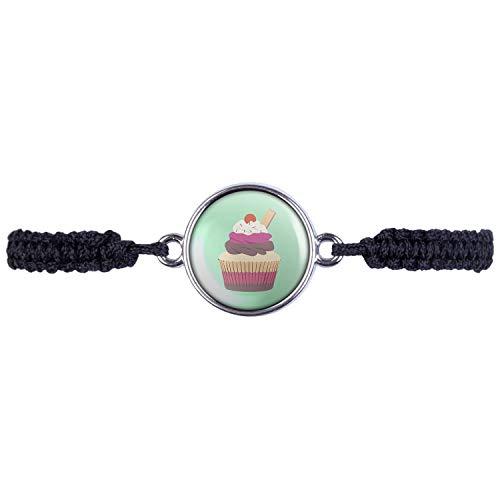 Mylery Armband mit Motiv Cup-Cake Kuchen Kirsche Waffel Silber 16mm (Cupcake Wars Kostüm)
