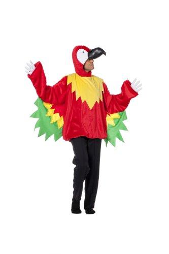 Karneval-Klamotten Papagei Kostüm Herren mit Papagei-Kopf Papagei-Oberteil Papagei -