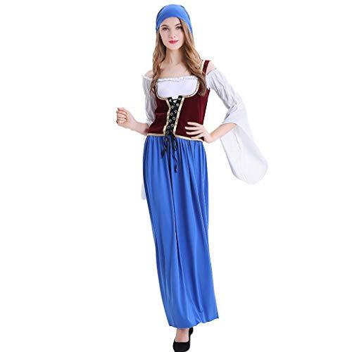 Maid Bar Kostüm - Chejarity Oktoberfest Damen Kleider Dirndl Lang Kleid Cosplay Traditionelles Maxikleider Karneval Kostüm 3 Teilig Set: Kopftuch, Kleid, Weste Bayerische Taverne Bar Maid Kostüm (XXL, Blau)