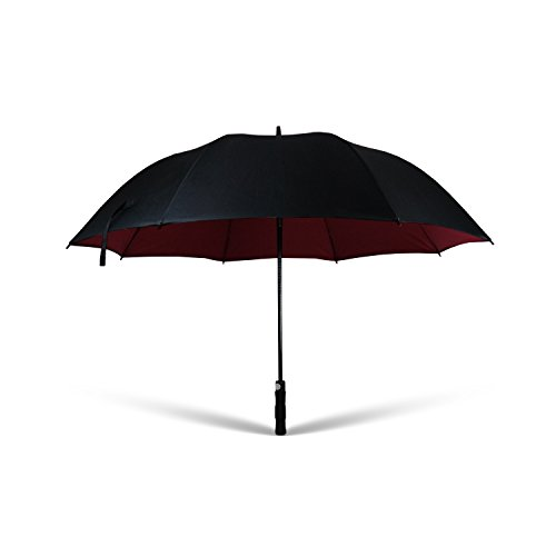 Regenschirm groß | Sturm- und Windfest, Wasserabweisend | XXL für 2 Personen schwarz/dunkelrot | automatische Öffnung per Knopfdruck | leicht, sehr stabil, aus Fiberglas | 135 cm - Beste Qualität