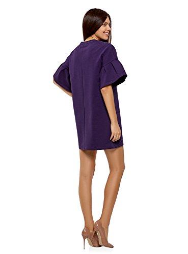 oodji Ultra Damen Gerade Geschnittenes Kleid mit Volants auf den Ärmeln Violett (8800N)
