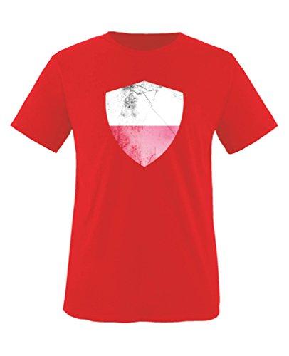 Comedy-Shirts Polen Trikot - Wappen: Groß - Wunsch - Kinder T-Shirt - Rot/Weiss Gr. 152-164