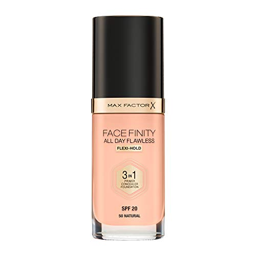Max Factor Facefinity All Day Flawless 3 in 1 Fondotinta Liquido a Lunga Durata 050 Natural, 30 ml
