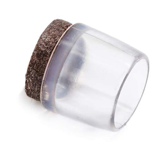 Adsamm® | 16 x Stuhlbeinkappen mit Filz | Ø 16 mm | Transparent | rund | Filz-Möbelgleiter für Stahlrohrstühle