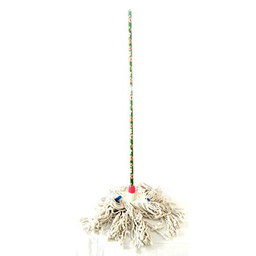 Khandekar - Mocio in cotone a secco, con manico in legno, per la pulizia di casa/ufficio, ospedale o multiuso