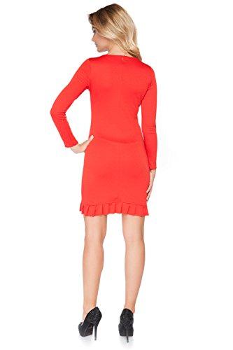 Futuro Fashion Femmes robe Mini avec Délicat Volant Manches Longues Col Rond Moulante Style Polyester Taille 8-14 UK FA447 Rouge