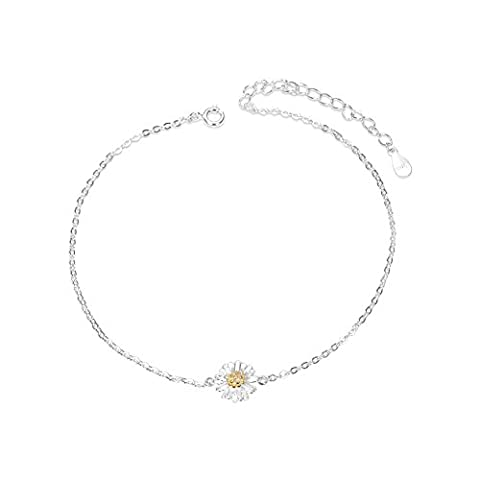 Sweetiee Lovely Anklet 925 Sterling Silver Anklet, Daisy Flower, Platinum, 200mm