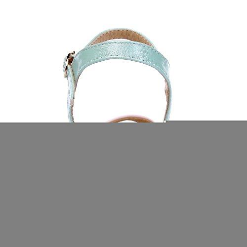 VogueZone009 Femme Ouverture D'Orteil à Talon Correct Pu Cuir Couleurs Mélangées Boucle Sandales Bleu