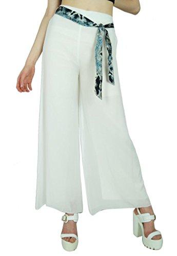 Georgette Palazzo Hose (Bimba Frauen weiße Georgette Palazzo Hosen elastische Taille beiläufige Kleidung)