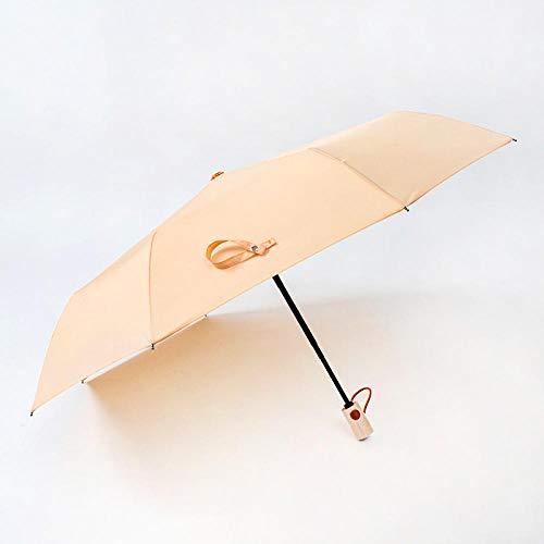 MVBGLK Taschenschirm Einfarbig Regenschirm Klein Frisch Einfach Automatisch Regenschirm Werbung Regenschirm DREI Falten@Creme Orange