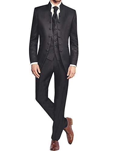 Weiß 3 Stück Anzug (QZI Herren Weiß Jacquard Weste 3 Stück Anzug Dekorative Schnalle Stehkragen Smoking)