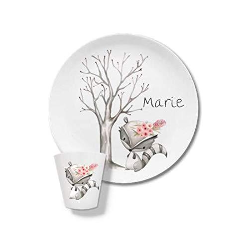 Kindergeschirr mit Name, Namen, Kinderteller Set mit Namen Waschbär mit Blumen Marie Waldtiere, Kindergeschirr, Kinderteller
