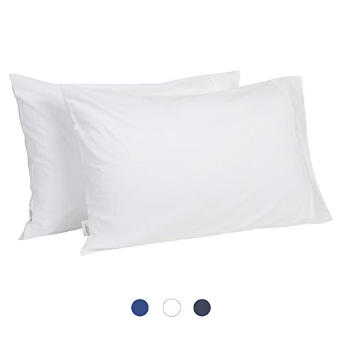 HOMFY 100% Baumwolle Kissenbezüge 50x75cm, 2er Set Kopfkissenbezug Bettkissenbezug, Weiß
