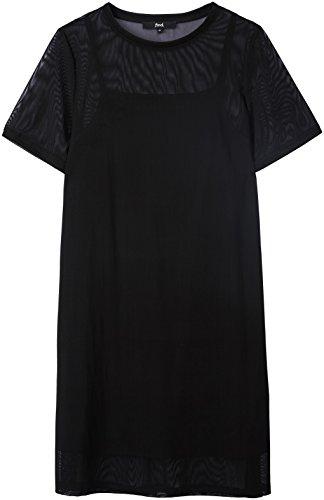 Find Damen Midikleid aus Mesh mit Unterrock Schwarz (Black)