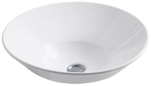 KOHLER K-2200-G-0 Conical Bell Vessels Above-Counter or Wall-Mount Bathroom Sink, White