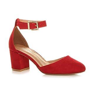 Ajvani Womens Ladies Low mid Block Heel Ankle Strap Court Shoes Sandals Size 6 39