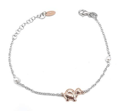 Montenapoleone Schmuck Armband für Damen mit Schildkröten Gold Silber und Perle - Schildkröte Griff
