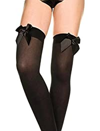 3b33d1091 Ladies Black White Hold Up Stockings With Bows