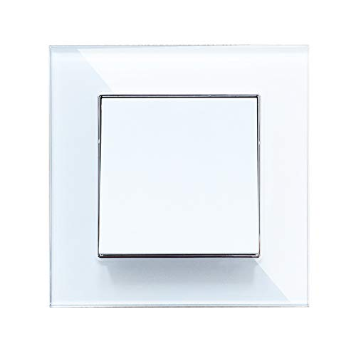 Wallpad Glas weiß Kristall Panel Schalter Steckdose - 1 Gang 2 Way -