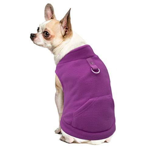 EXPAWLORER Fleece Herbst Winter Kalte Wetter Hund Weste Geschirr Kleidung mit Pocket für Kleine Hunde, XL, Violett -