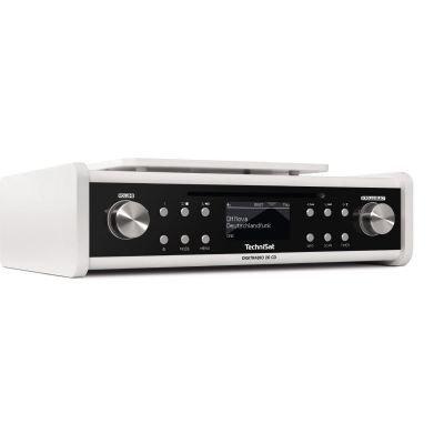 TechniSat Digitradio 20 CD (Modernes und kompaktes DAB+ Küchen- und Badezimmerradio, Empfangstarkes UKW Unterbauradio mit CD Player und Uhr) - Radio Uhr Cd-player