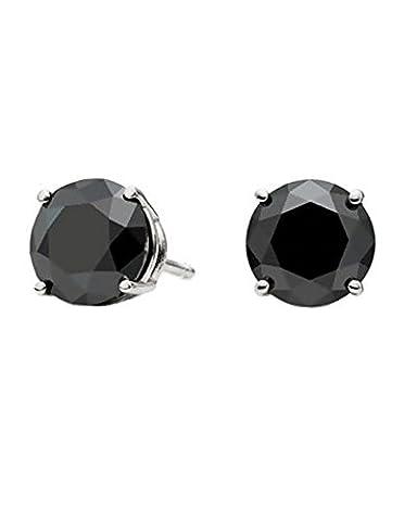 iJewelry2 Black Round Cut Diamond CZ Silver Basket Set Men Unisex Stud Earrings (0.8ct. 6mm)