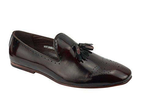 Brevet Pour Homme Smokey Pure en cuir gris vin vintage brillant mod avec Flâneur Plat Smart Chaussures à enfiler Burnt Maroon
