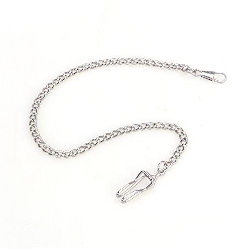 Nicerio Porte-clés à chaîne avec montre de gousset - Plaqué argent, style classique, en métal, 35cm (longueur)