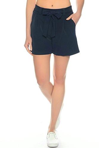 Dress Sheek Damen Elegante Kurze Hose | Crepe Sommer Shorts (Navy Blau, M)