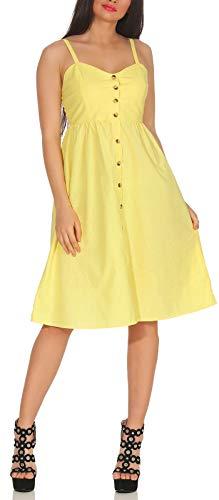 Hailys Damen Kleid Amal Sommerkleid mit Knopfleiste TU-1808080 Yellow L