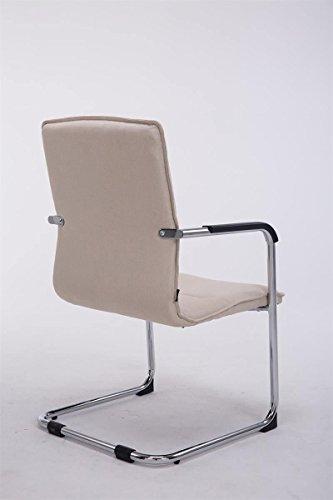 CLP Freischwinger-Stuhl mit Armlehne SEATTLE Stoff, Besucherstuhl, Konferenzstuhl gepolstert, Metall Creme - 3