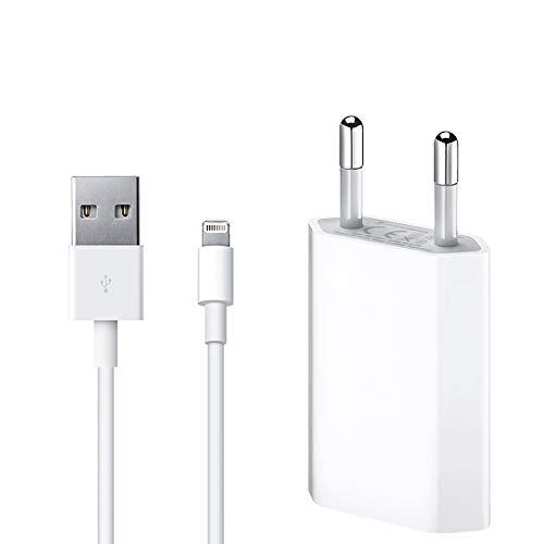 ultrapower100 CARICA BATTERIA per iPhone [Garanzia a Vita] 1A 5W USB 1400 + CAVO di ricarica per 5 5C 5S 6 SE 6S 7 8 X XS XR XS Max KIT 2 in 1 MD818 spina alimentatore + cavetto dati 100 cm 1 Metro