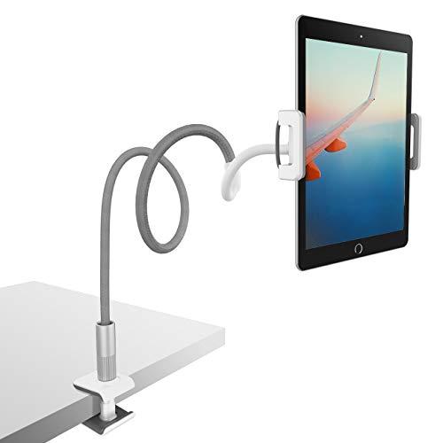 Lamicall Schwanenhals Tablet Halterung, Tablet Halter : Lazy Flexible Einstellbare Lang Arm Ständer für Pad Mini 2 3 4, Neu Pad Pro 2018, Pad Air, Phone, und Weitere 4,7-10,5 Zoll Geräte - Grau