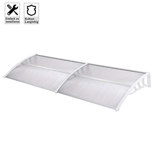Froadp 300x100cm Pultvordach Vordach Türdach Sonnenschutz Pultbogenvordach Vordach Regenschutz Überdachung(Weiß)